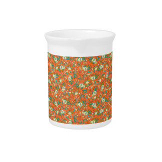 Abstract colorful hand drawn floral pattern design pitcher