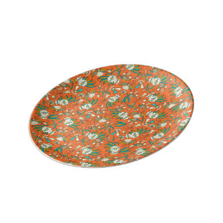 Abstract colorful hand drawn floral pattern design plate