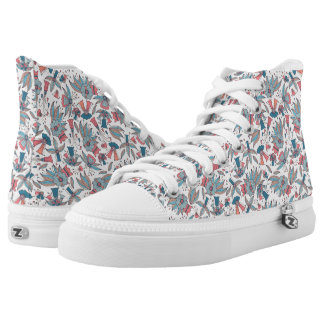 Abstract colorful hand drawn floral pattern design printed shoes