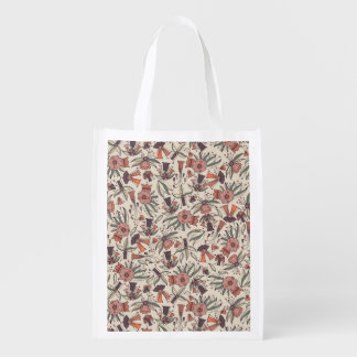 Abstract colorful hand drawn floral pattern design reusable grocery bag