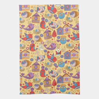 Abstract colorful hand drawn floral pattern design tea towel