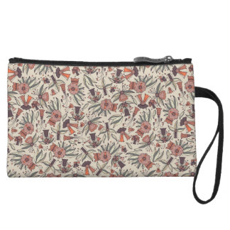 Abstract colorful hand drawn floral pattern design wristlet