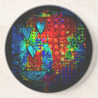 abstract colorful hearts display for stone coaster