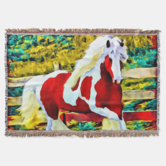 Abstract Colorful Large Horse Western Equestrian Throw Blanket
