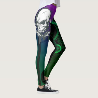 Abstract Colorful Leggings Unique with Skull