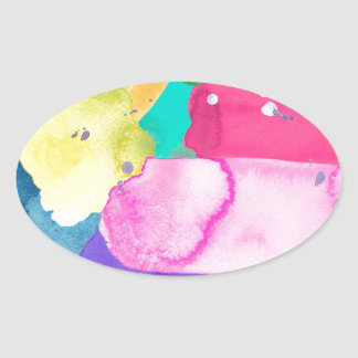 ABSTRACT COLORFUL OVAL STICKER