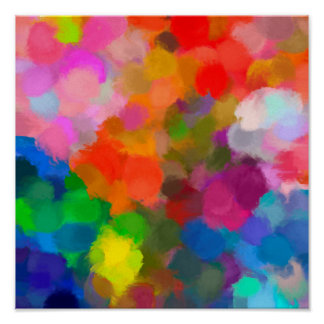 Abstract colorful paint brushstrokes poster