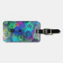 Abstract Colorful Rings Tags For Luggage