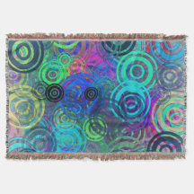 Abstract Colorful Rings Throw Blanket
