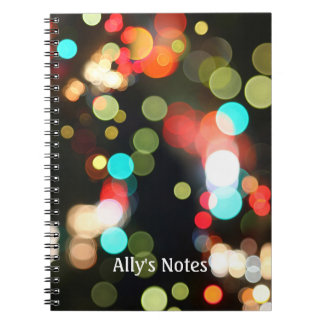 Abstract Colorful Round Funky Fun Bokeh Lights Notebook