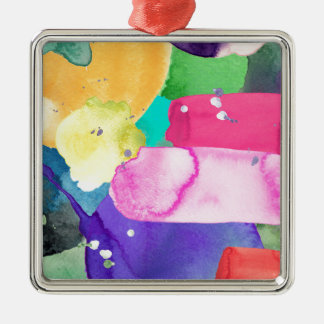 ABSTRACT COLORFUL Silver-Colored SQUARE DECORATION