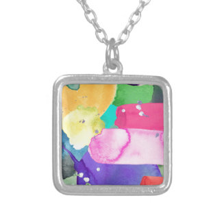 ABSTRACT COLORFUL SILVER PLATED NECKLACE