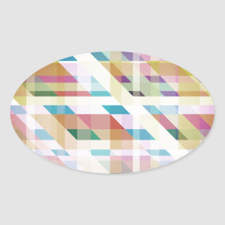 Abstract Colorful Stripes Oval Sticker