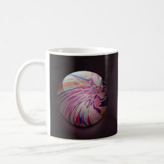 Abstract, colorful swirl and stripe shiny marble basic white mug