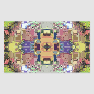 Abstract Colorful Symmetrical Rectangular Sticker