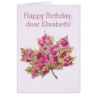 Abstract Colorful Watercolor Autumn Leaf Birthday Card