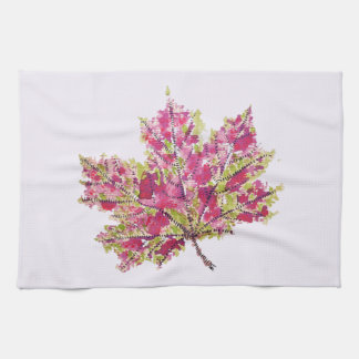 Abstract Colorful Watercolor Autumn Leaf Tea Towel