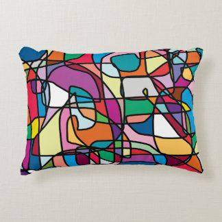 Abstract Colors Doodle Accent Pillow