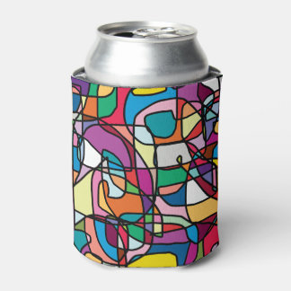 Abstract Colors Doodle Can Cooler