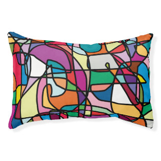 Abstract Colors Doodle Indoor Dog Bed