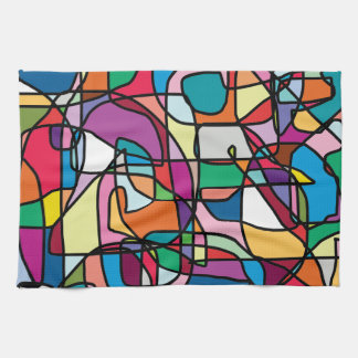 Abstract Colors Doodle Kitchen Towel