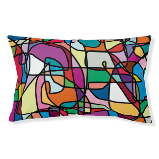 Abstract Colors Doodle Outdoor Dog Bed