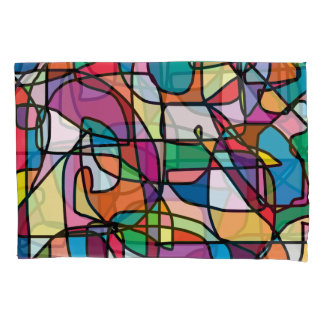 Abstract Colors Doodle Pair of Pillowcases