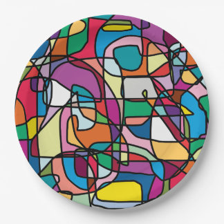 Abstract Colors Doodle Paper Plate 9 Inch Paper Plate