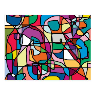 Abstract Colors Doodle Postcard