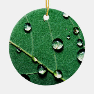 abstract colors raindrops on a fallen leaf.jpg ceramic ornament