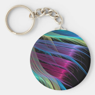 Abstract Colors Satin Ends Basic Round Button Key Ring