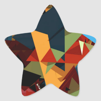 Abstract colors star sticker