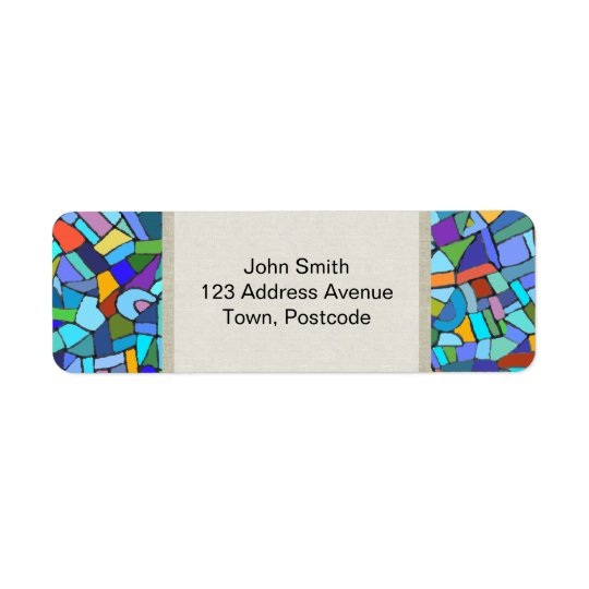 Abstract Colourful Blue Mosaic Pattern Return Address Label