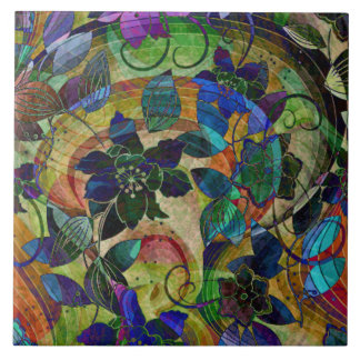 Abstract Colourful Floral Tile