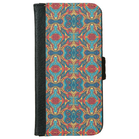 Abstract colourful hand drawn curly pattern design iPhone 6 wallet case