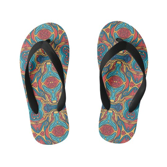 Abstract colourful hand drawn curly pattern design kid's thongs