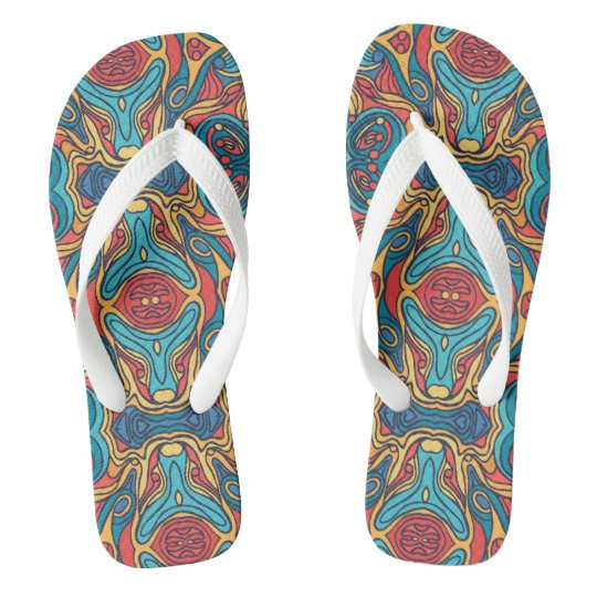 Abstract colourful hand drawn curly pattern design thongs