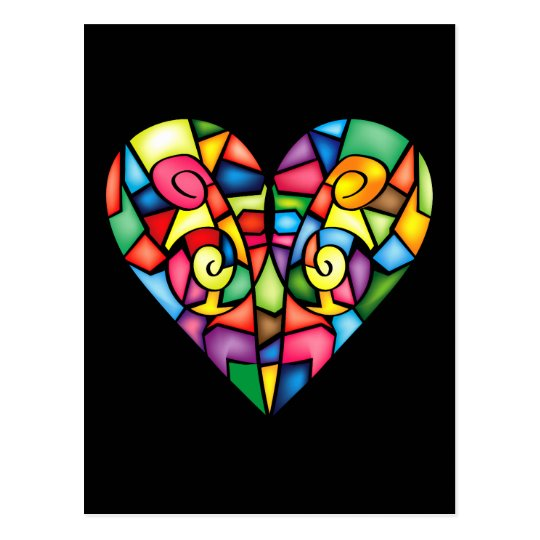 Abstract colourful heart postcard