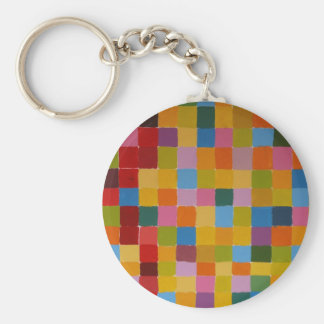 Abstract Colourful Mosaic Basic Round Button Key Ring