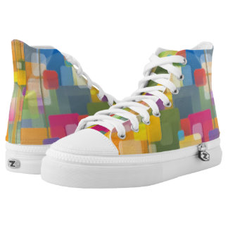 Abstract Colourful Squares High Top Shoes Printed Shoes