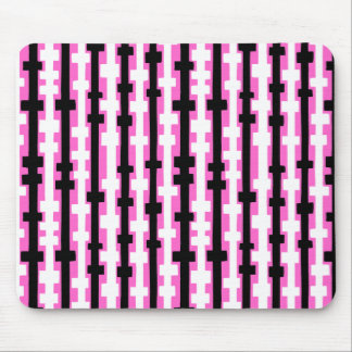 Abstract Columns - Black and White on Pink Mouse Pad