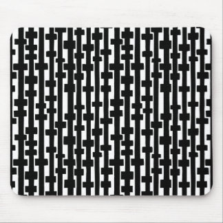 Abstract Columns - Black on White Mouse Pad