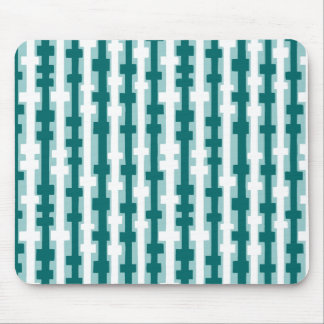 Abstract Columns - Green and White on Lt Blue Gree Mouse Pad