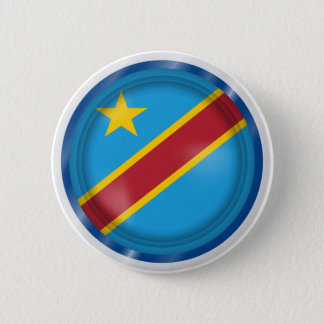 Abstract Congo Flag, Democratic Republic of Congo 6 Cm Round Badge
