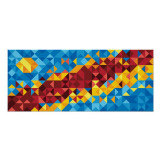 Abstract Congo Flag, Democratic Republic of Congo Poster
