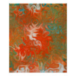 Abstract Contemporary Art Red Orange Teal Swirls Poster