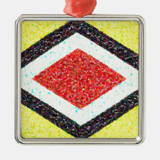 abstract contemporary colors No 31 Silver-Colored Square Decoration
