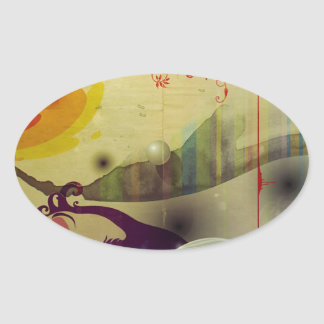 Abstract Cool A Land Of Time Oval Sticker