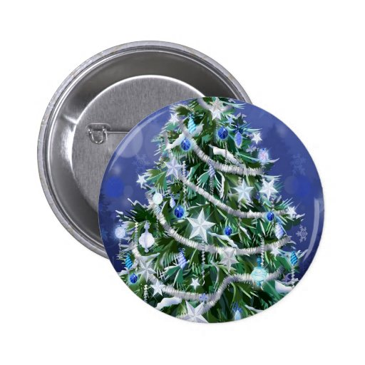 Abstract Cool Christmas Tree Times Button