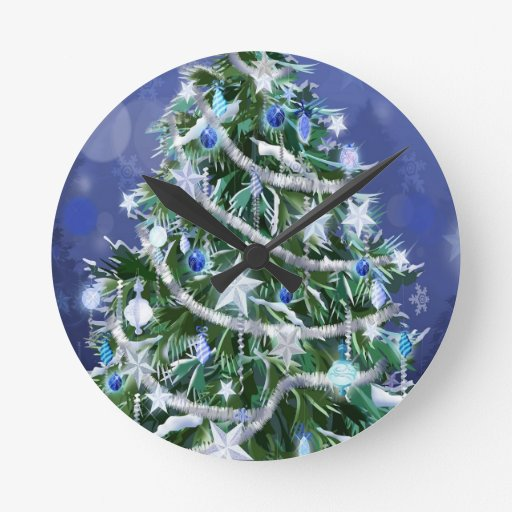 Abstract Cool Christmas Tree Times Clock